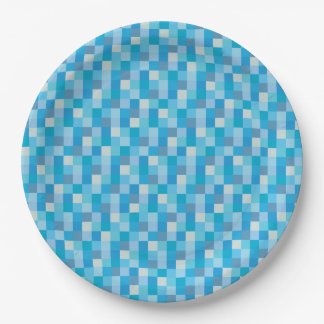 Blue Pixelated Pattern Paper Plate