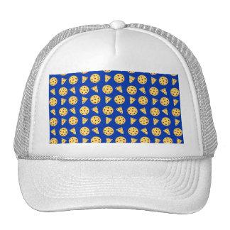 Blue pizza pattern trucker hat