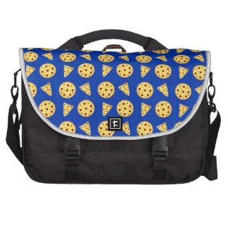 Blue pizza pattern commuter bag