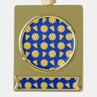 Blue pizza pattern gold plated banner ornament