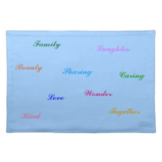 blue placemat for fun families