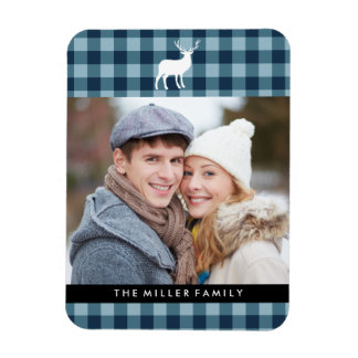 Blue Plaid and White Stag | Holiday Rectangular Photo Magnet