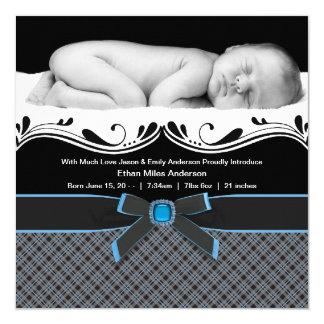 Blue Plaid Baby Boy Photo Birth Announcement