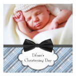 Blue Plaid Baby Boy Photo Christening Invite