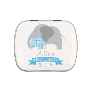 Blue Plaid Baby Elephant Baby Shower Jelly Belly Candy Tin