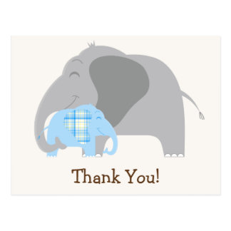 Blue Plaid Baby Elephant Baby Shower Postcard