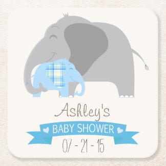 Blue Plaid Baby Elephant Baby Shower Square Paper Coaster