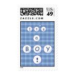 Blue Plaid Baby Postage Stamp
