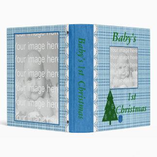 Blue Plaid Baby's First Christmas Photo Album 3 Ring Binder