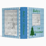 Blue Plaid Baby's First Christmas Photo Album 3 Ring Binder