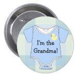Blue Plaid Baby Shower Grandma 3 Inch Round Button
