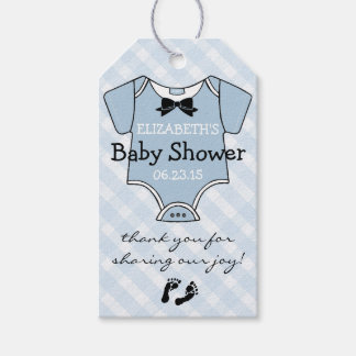 Blue Plaid Baby Shower Guest Favor Gift Tags