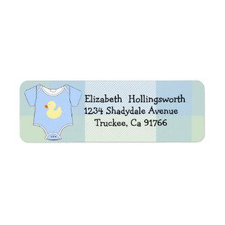 Blue Plaid-Baby Shower Label