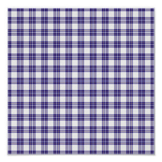 Blue Plaid Background Paper Poster