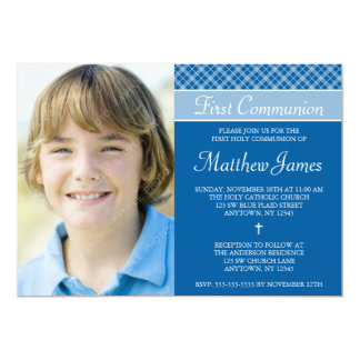 Blue Plaid Boy Photo First Holy Communion 5x7 Paper Invitation Card