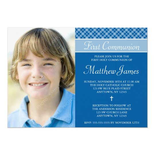 Blue Plaid Boy Photo First Holy Communion Invitation
