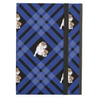 Blue Plaid Bulldog iPad Air Cover