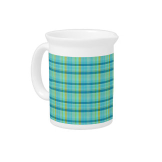 Blue Plaid by Shirley Taylor Beverage Pitcher