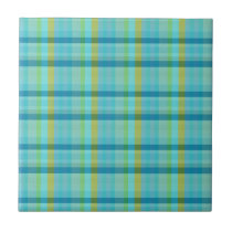 Blue Plaid by Shirley Taylor Ceramic Tile