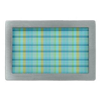 Blue Plaid by Shirley Taylor Rectangular Belt Buckle