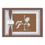 "Blue Plaid Carousel Horse Baby Shower Invitation 5"" X 7"" Invitation Card"