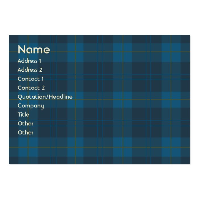 Blue Plaid - Chubby Large Business Card