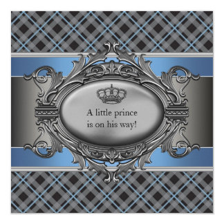 Blue Plaid Crown Little Prince Baby Shower Card