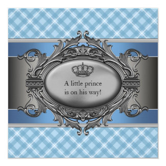 Blue Plaid Crown Little Prince Boy Baby Shower Card