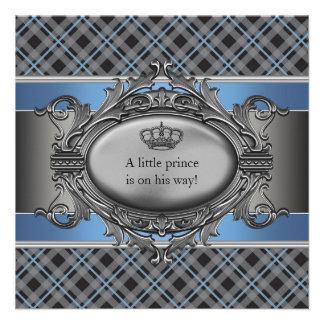 Blue Plaid Crown Little Prince Boy Baby Shower Custom Announcements