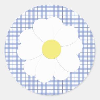 Blue Plaid Daisy Sticker