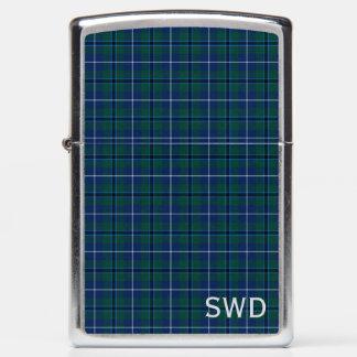 Blue Plaid Douglas Clan Modern Tartan Monogram Zippo Lighter