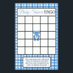 """Blue Plaid Elephant Themed baby shower games Flyer<br><div class=""""desc"""">Blue Plaid Elephant Themed  baby shower games. Side one is Baby Shower Bingo and side two is,  &quot;Who knows mommy best?&quot;.</div>"""