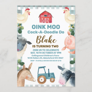 Blue Plaid Farm And Tractor Birthday Invitation