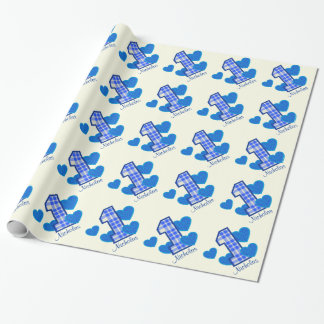 BLUE PLAID First Birthday Custom Name V03 Wrapping Paper