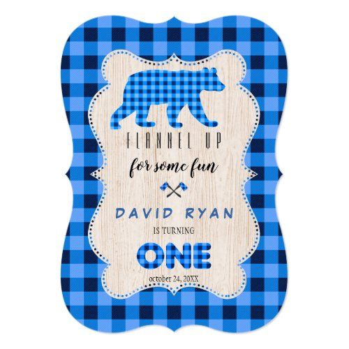 Blue Plaid Flannel Up Lumberjack First Birthday Invitation