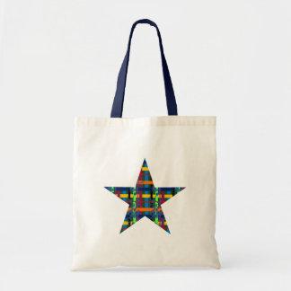 Blue Plaid Flourish Star Budget Tote Bag