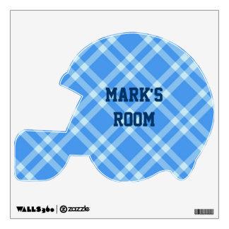 Blue Plaid Football Helmet Wall Sticker