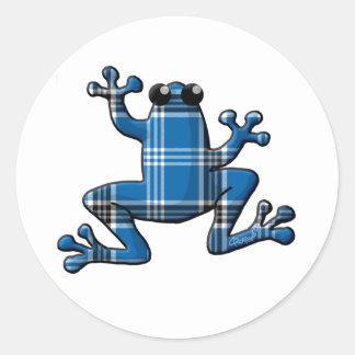 Blue Plaid Frog Classic Round Sticker
