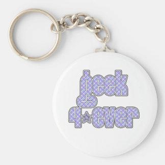 Blue Plaid Geek 4ever Keychain