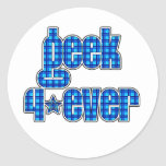 Blue Plaid geek 4ever Round Stickers