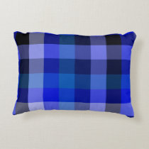 Blue Plaid Gingham Accent Pillow