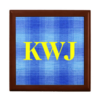 Blue Plaid Gingham Fabric Pattern Design Keepsake Box