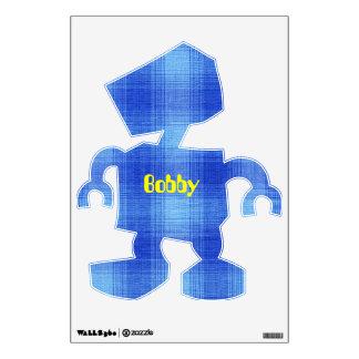 Blue Plaid Gingham Fabric Pattern Design Wall Sticker