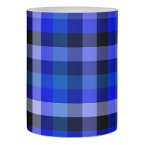 Blue Plaid Gingham Flameless Candle