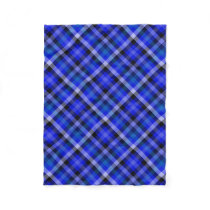 Blue Plaid Gingham Fleece Blanket