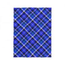Blue Plaid Gingham Fleece Blanket