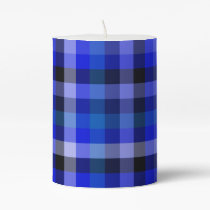 Blue Plaid Gingham Pillar Candle