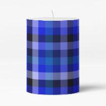Blue Plaid Gingham Pillar Candle