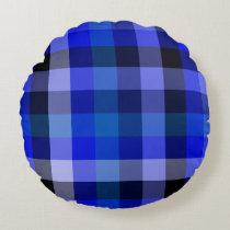Blue Plaid Gingham Round Pillow