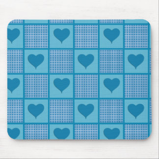 Blue Plaid Heart Pattern Mouse Pad
